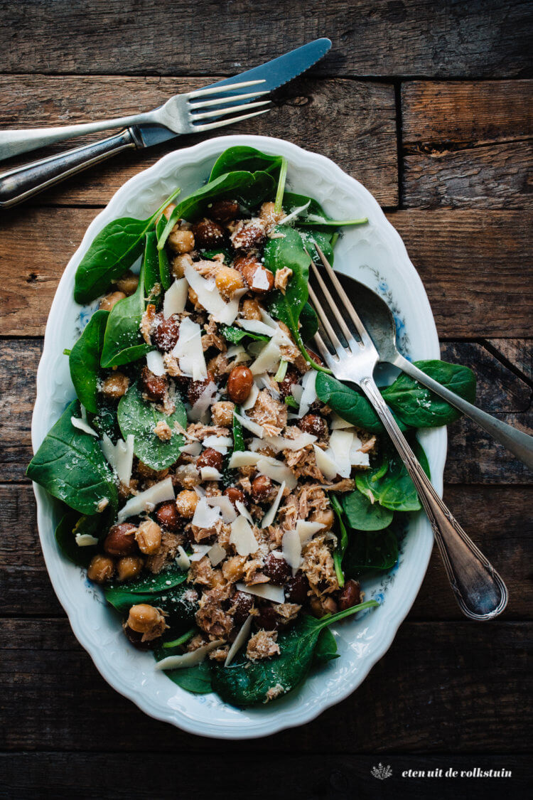 Salade met borlottibonen