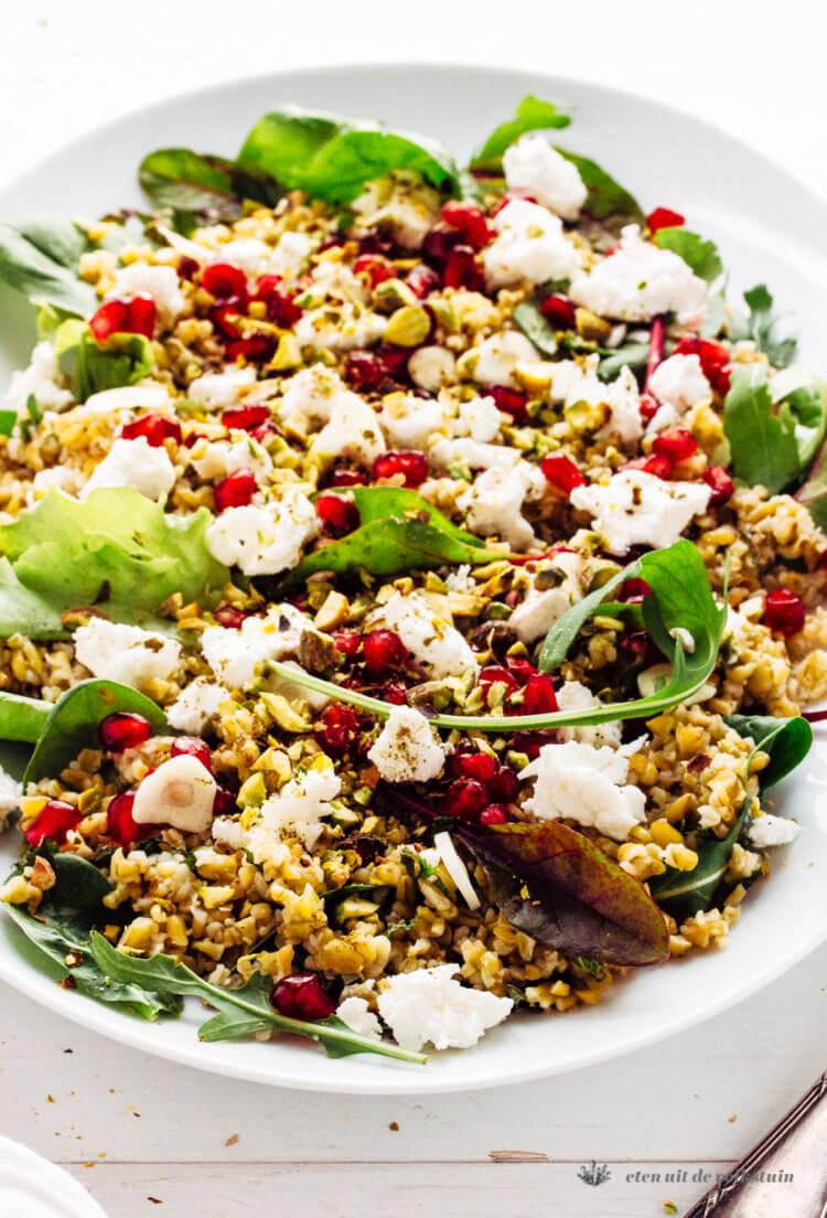 Freekeh salade met kruiden en geitenkaas
