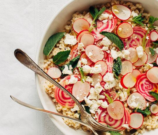 Salade met parelgort, bietjes en radijs