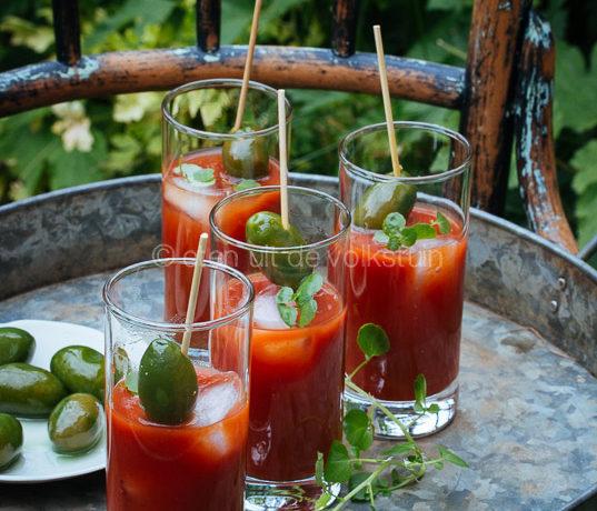 Bloody mary voor een feestje in de tuin