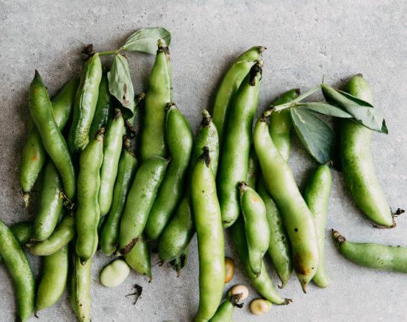 Koude noedelsalade met tuinbonen