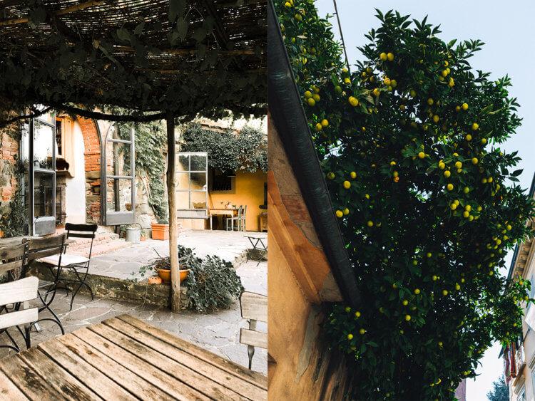 Terras Locanda Casanuova en sinaasappelbomen in Luca