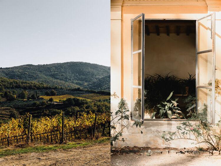 Heuvels van Toscane en Orangerie van Villa Poggio a Caiano bij Florence