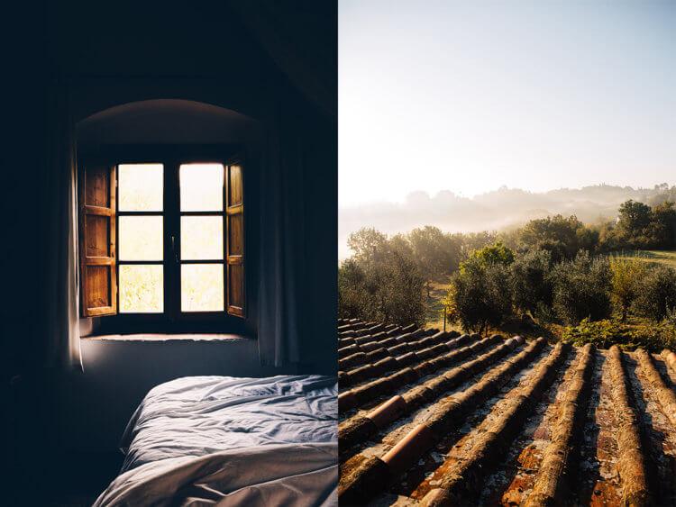 Hotelkamer en uitzicht