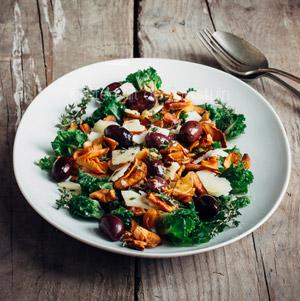Salade met aardperen en spruiten